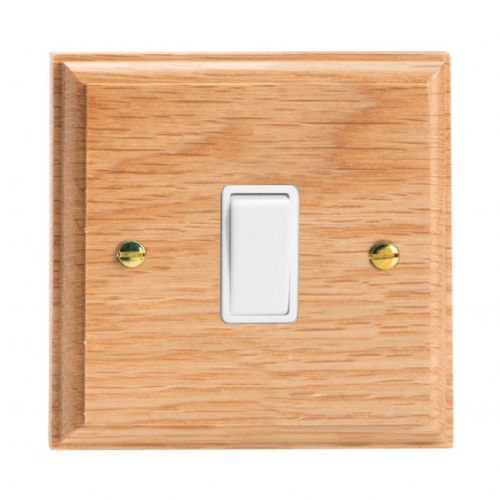 Varilight XK1OW Kilnwood Oak 1 Gang 10A 1 or 2 Way Rocker Light Switch